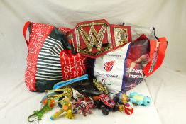 Large quantity of contemporary action figures, plastic animals and toys (two large bags)