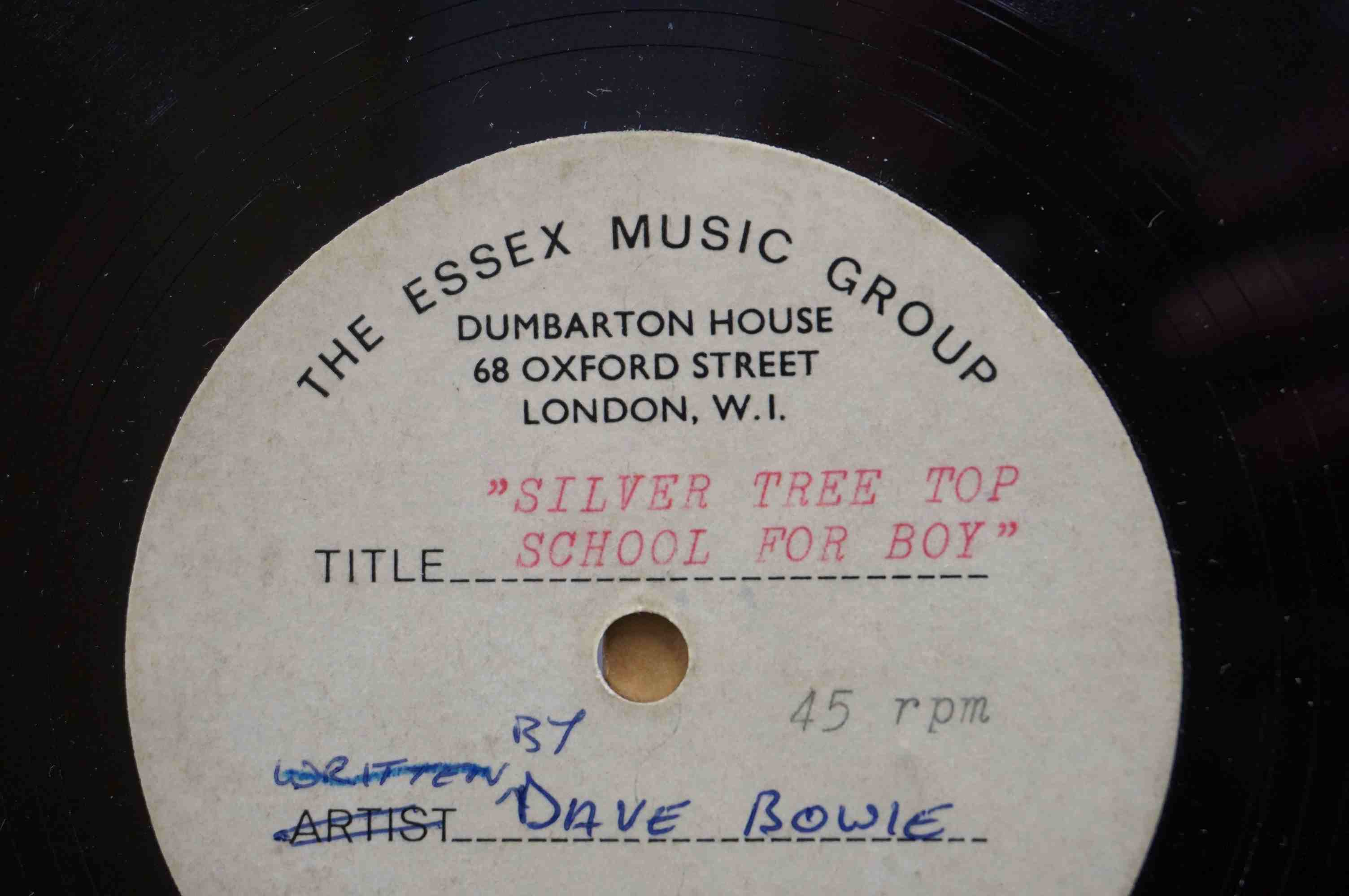 Vinyl - David Bowie - A Single sided acetate demo for the song ' Silver Tree Top School For - Image 4 of 5