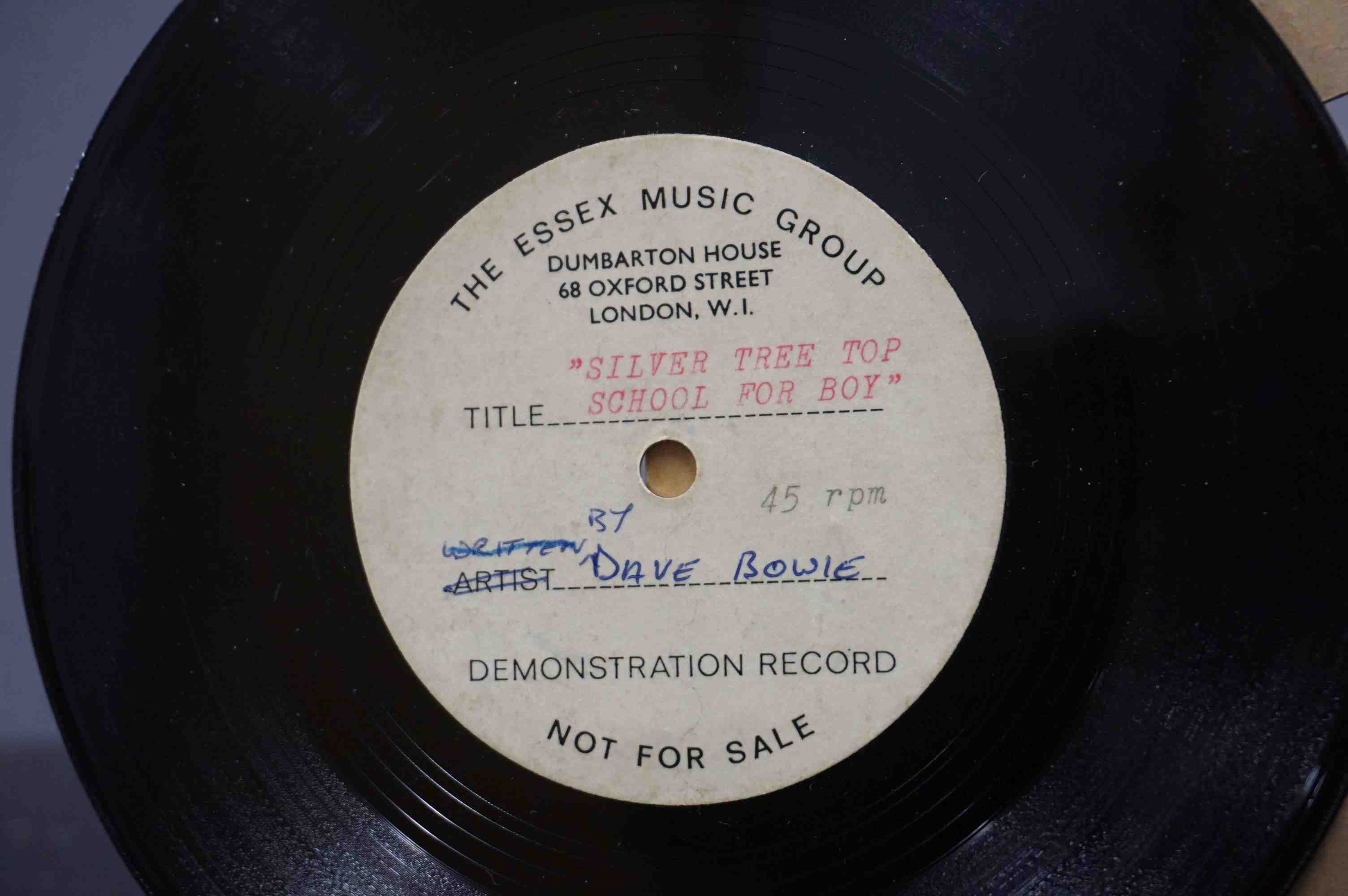 Vinyl - David Bowie - A Single sided acetate demo for the song ' Silver Tree Top School For - Image 2 of 5