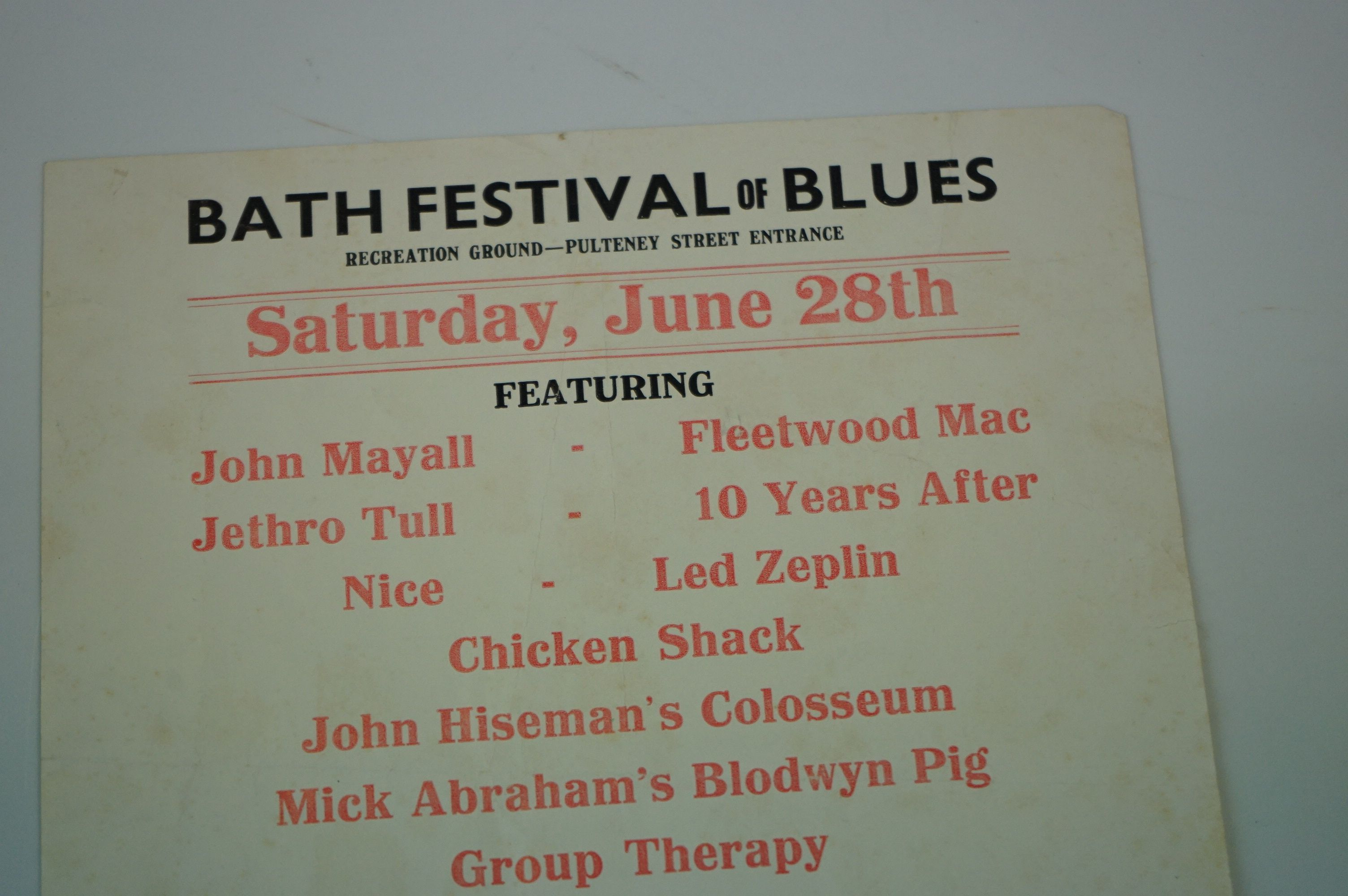 Bath Festival of Blues Music Poster / Flyer featuring John Mayall, Led Zeppelin, Fleetwood Mac, 10 - Image 2 of 5