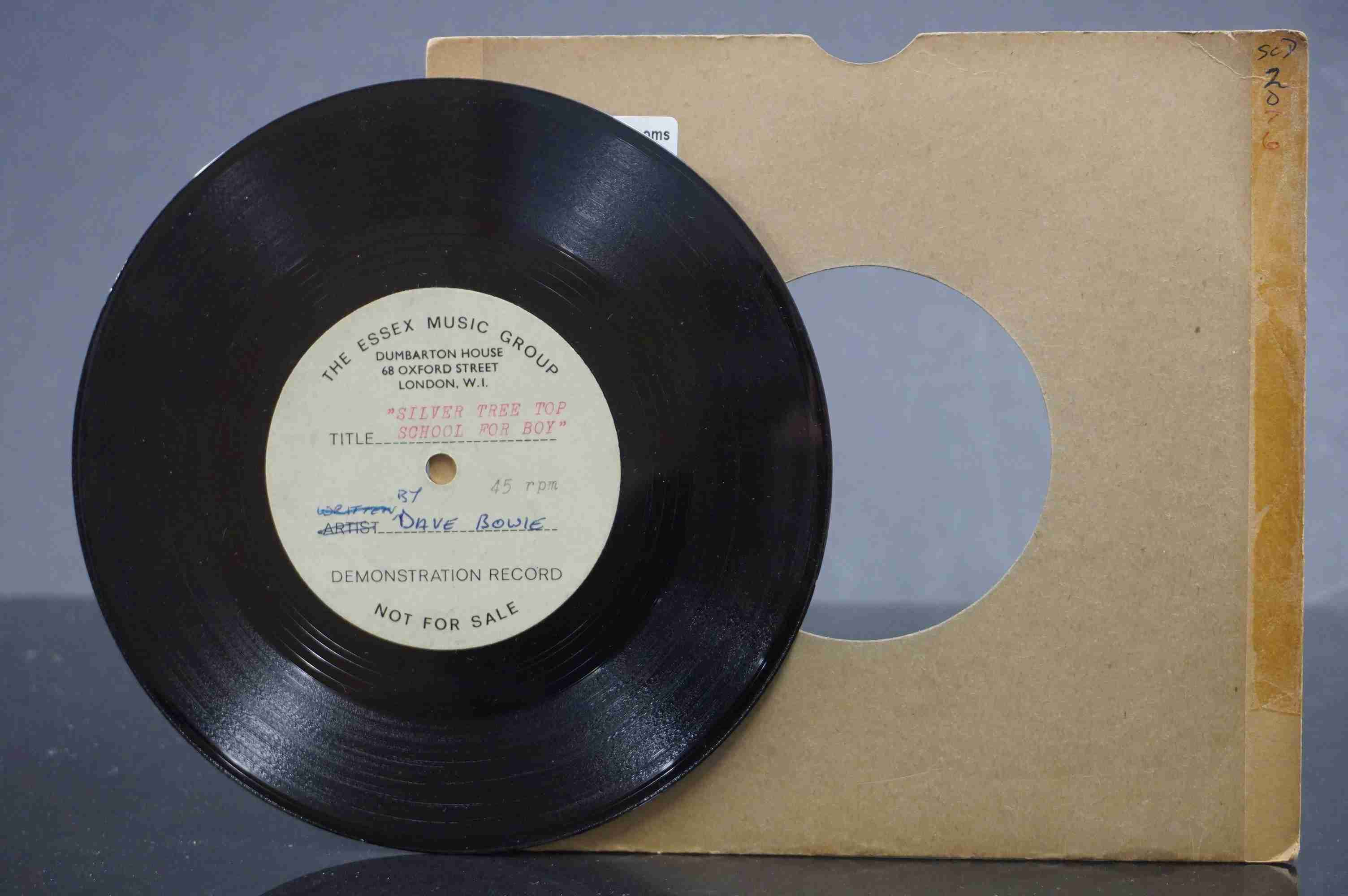 Vinyl - David Bowie - A Single sided acetate demo for the song ' Silver Tree Top School For