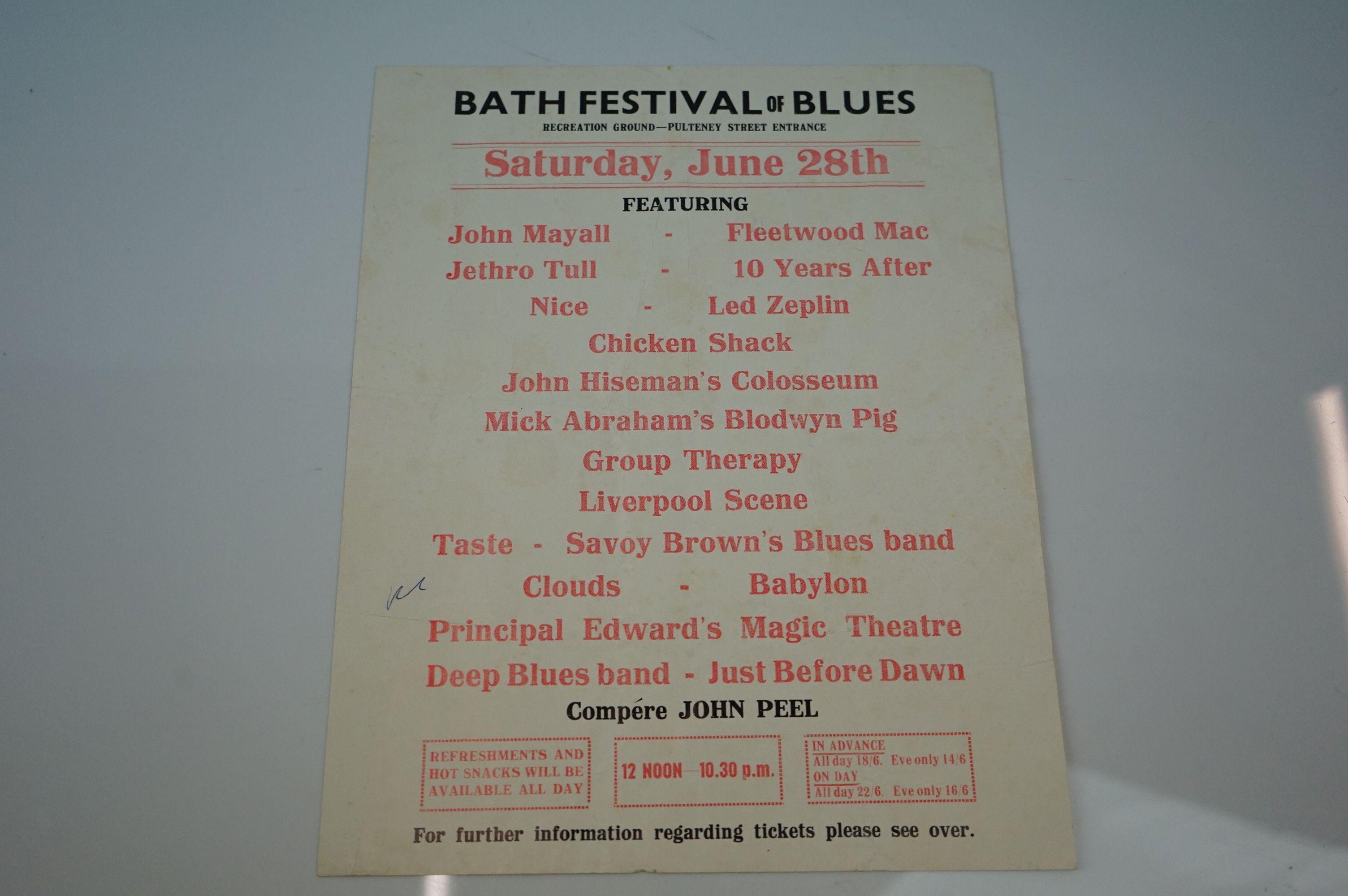 Bath Festival of Blues Music Poster / Flyer featuring John Mayall, Led Zeppelin, Fleetwood Mac, 10
