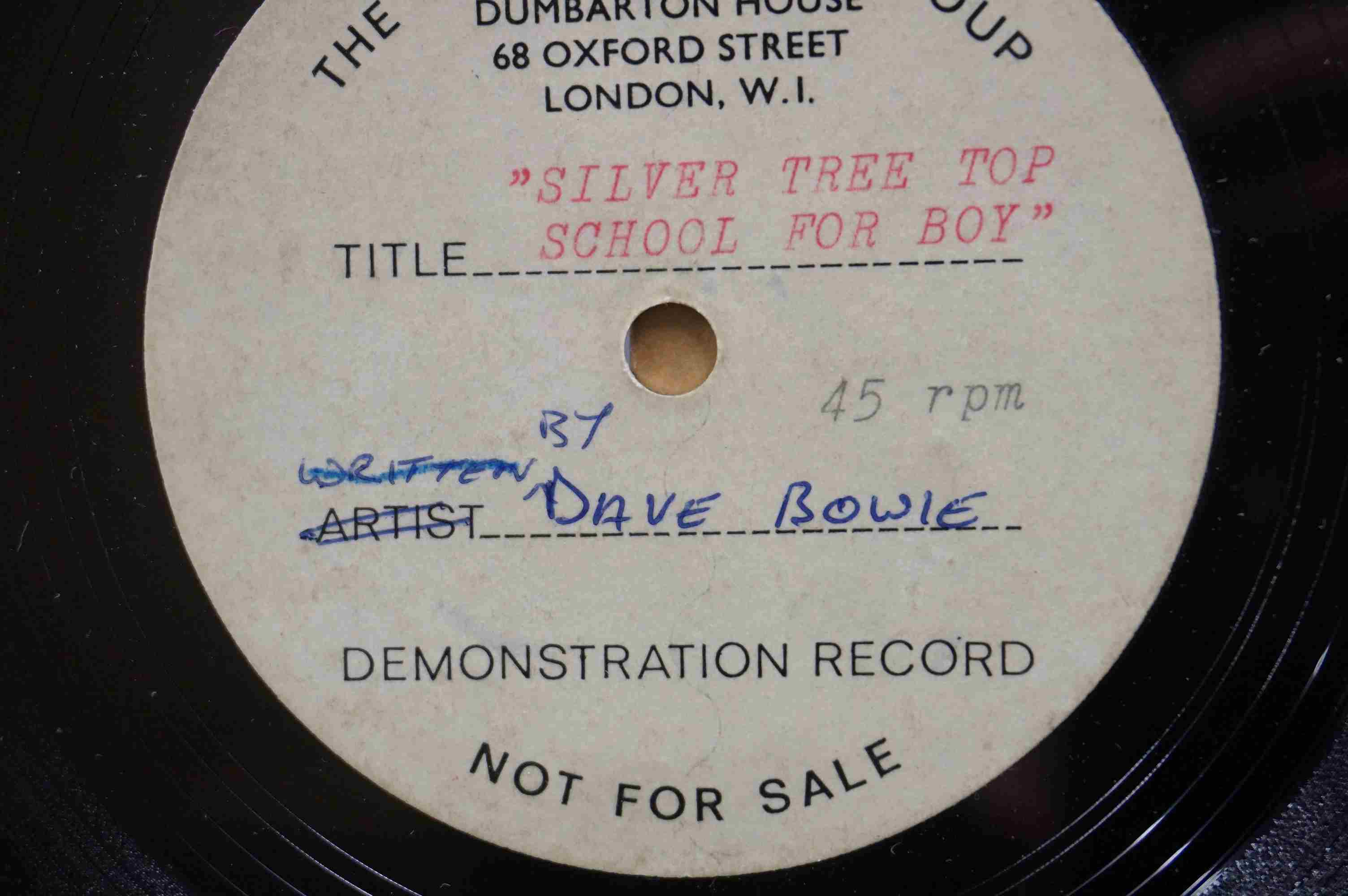Vinyl - David Bowie - A Single sided acetate demo for the song ' Silver Tree Top School For - Image 3 of 5