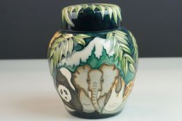 Moorcroft Lidded Jar, Moorcroft Collector's Club piece in the Noah's Ark pattern, dated 95, with