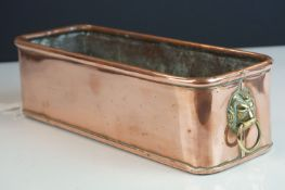 Copper Rectangular Planter with Brass Lion Mask Ring Handles, 31cms long x 8.5cms high