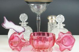 Collection of Glassware including Pair of Cut Glass Perfume Bottles / Decanters, 18cms high, Jack in
