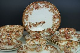 Samual Radford Bone China part Tea Set in Imari colours of Chestnut Brown and Orange with Gilt