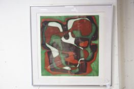 A contemporary framed and glazed modernist limited edition etching no 3/5 indistinct signature.