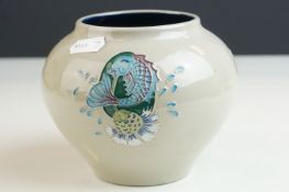 Moorcroft Squat Vase in the Bursting Bubbles pattern on a grey ground, impressed and painted marks