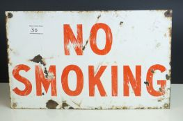 Enamel ' No Smoking ' Sign, 25.5cms x 41cms
