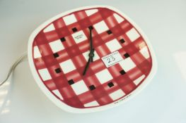 Mid 20th century Retro T. G. Green & Co ' Gingham ' Ceramic Smiths Sectric Wall Clock, 24cms high