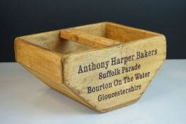 Wooden Trug with central handle marked ' Anthony Harper Bakers, Bourton on the Water,