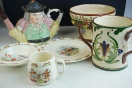 Ceramics including Torquay Mottoware Three Handled Mug and Footed Bowl, Royal Doulton Bunnykins