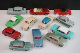 12 Mid 20th C Dinky diecast road models to include Holden Special Sedan, Jaguar Mark X, 176 Austin