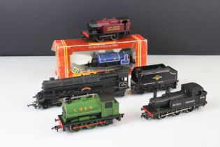 Five OO gauge locomotives to include boxed Hornby R057 Caledonian 0-4-0 Loco Saddle Tank (poor box),