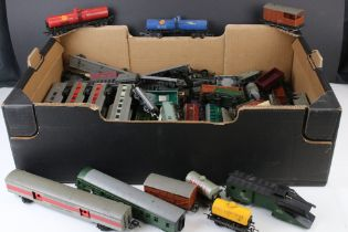 Around 55 OO gauge items of rolling stock, mainly Triang examples to include coaches, trucks and