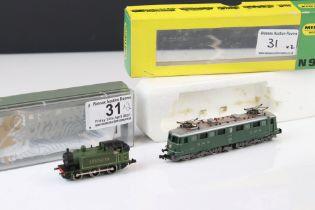 Boxed Minitrix N gauge 2936 locomotive plus a Graham Farish 0-6-0 Southern loco within Bachmann Plus