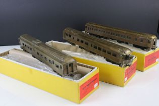 Three boxed E Suydam & Co HO Railroad Equipment items of brass rolling stock to include RR-9
