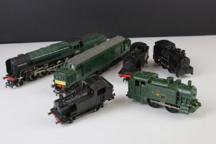 Six OO gauge locomotives to include Triang Hornby Evening Star 2-8-0 with tender etc, some play wear