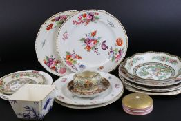 A quantity of antique ceramics to include floral decorated Duesbury Derby cabinet plates, Minton pin
