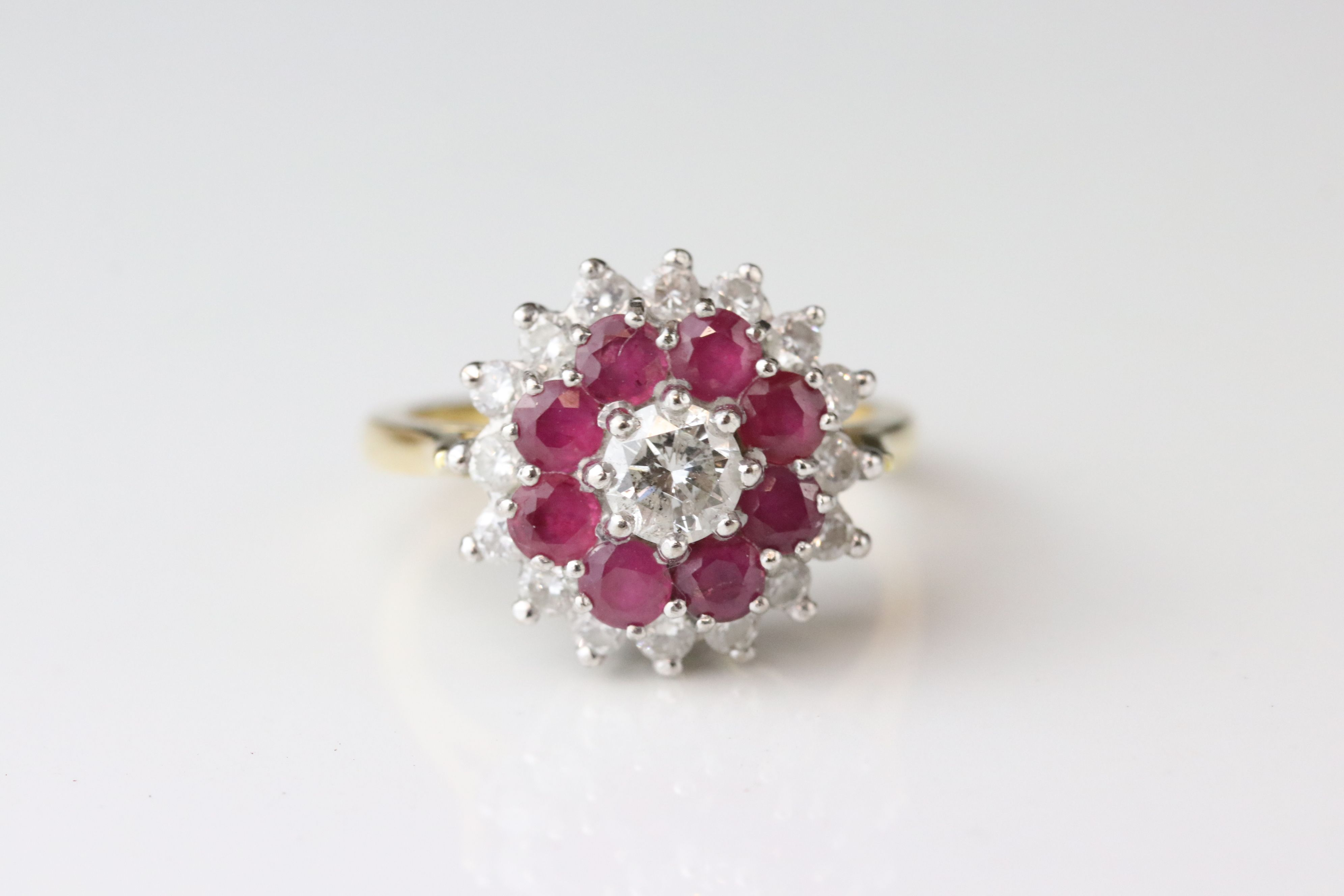 Diamond and ruby three tier 18ct yellow gold and white gold set cluster ring, the principle - Image 2 of 5