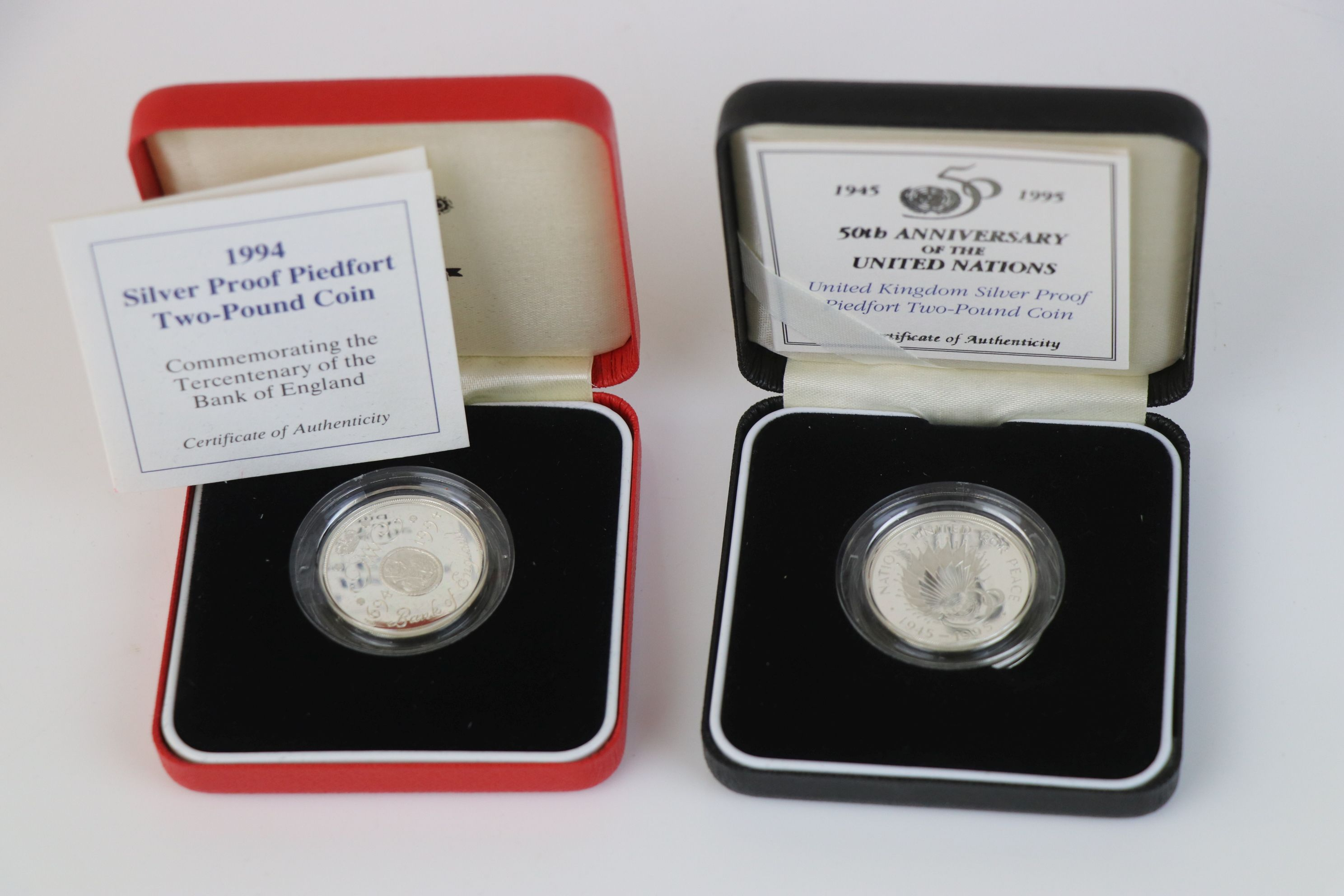 A cased Royal Mint 1994 silver proof Piedfort £2 coin commemorating the Tercentenary of the Bank