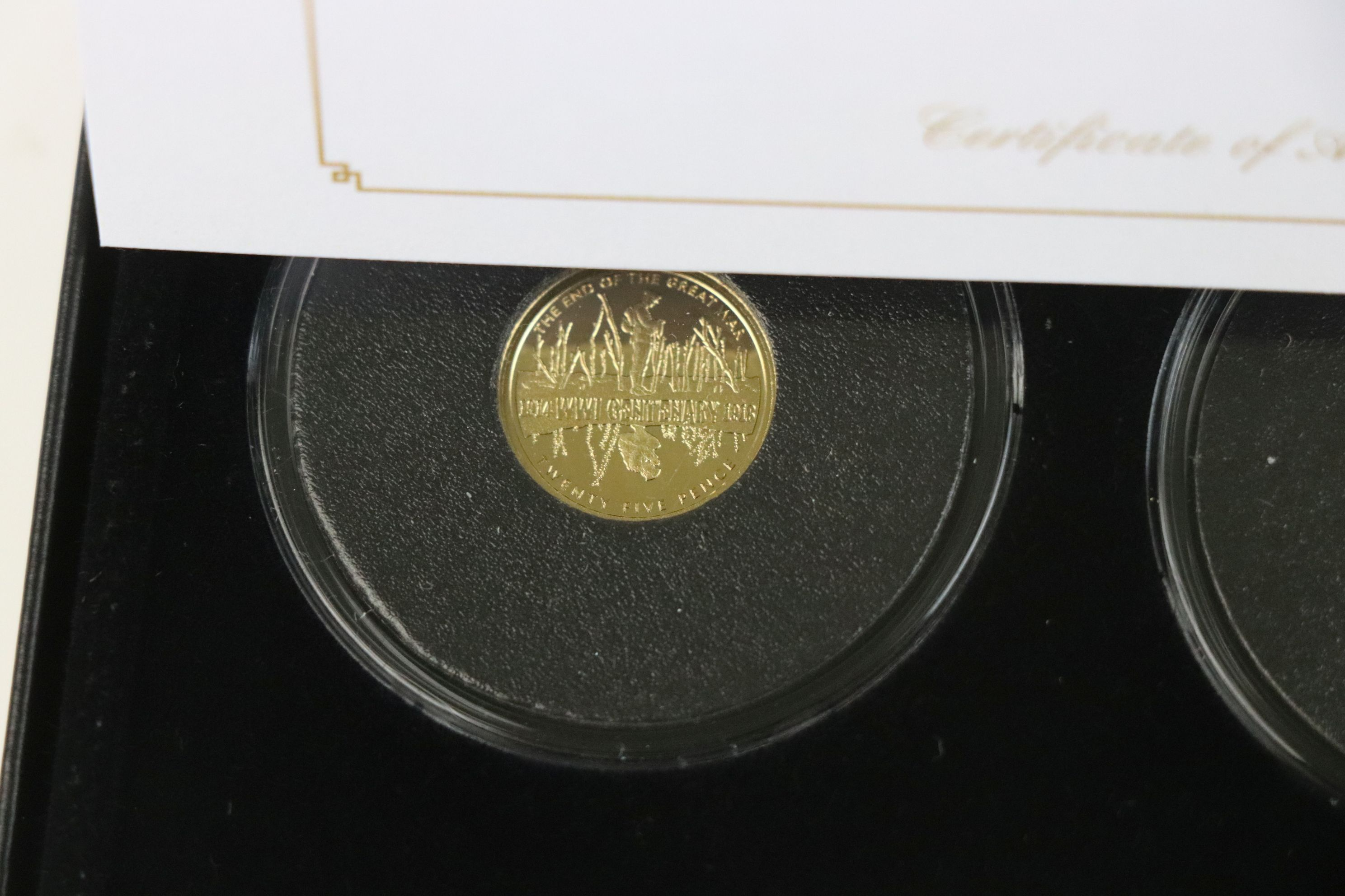 A cased Jubilee Mint limited edition The Centenary of World War One 9ct gold three coin set, - Image 3 of 7
