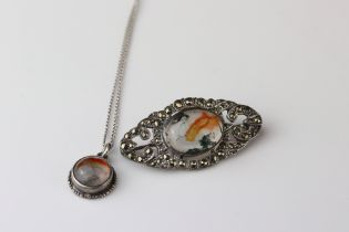 Moss agate and full set marcasite silver marquise shaped brooch, the oval cabochon cut moss agate