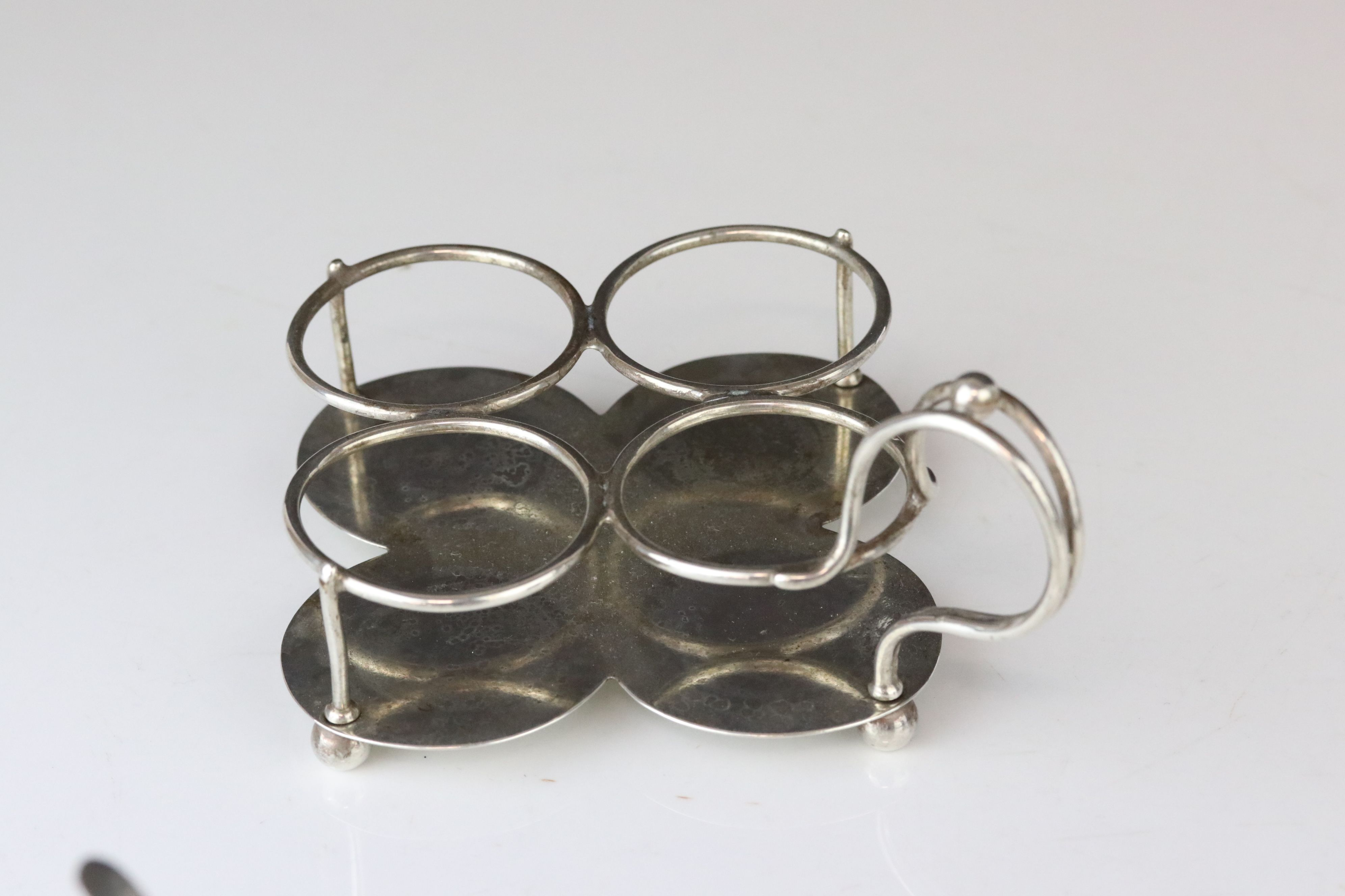 Victorian Silver Quatrefoil Cruet Stand holding Pair of Glass Mustards with Silver Lids and - Image 8 of 8