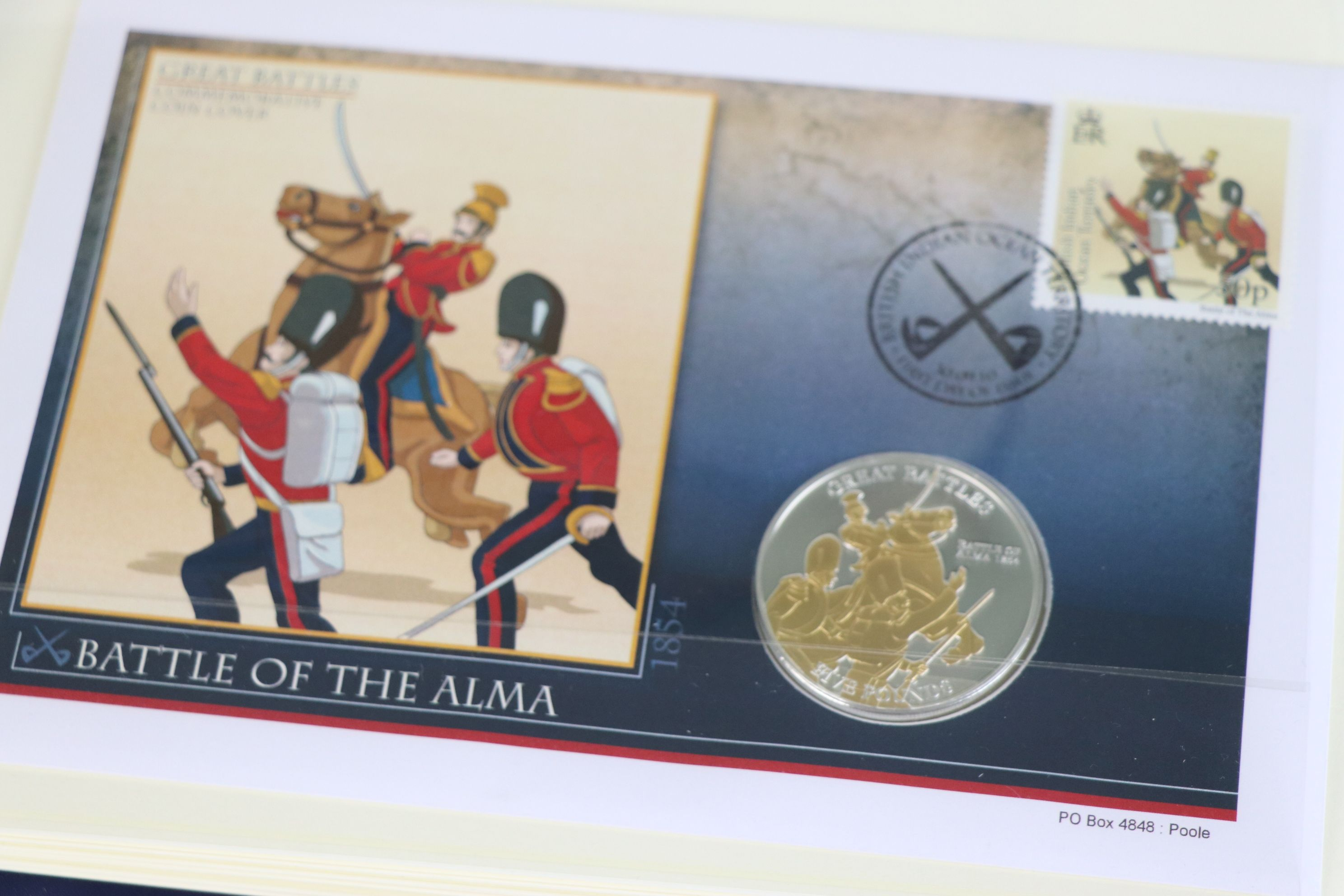 A limited edition Westminster Mint Great Battles £5 coin and stamps covers collection contained - Image 7 of 7