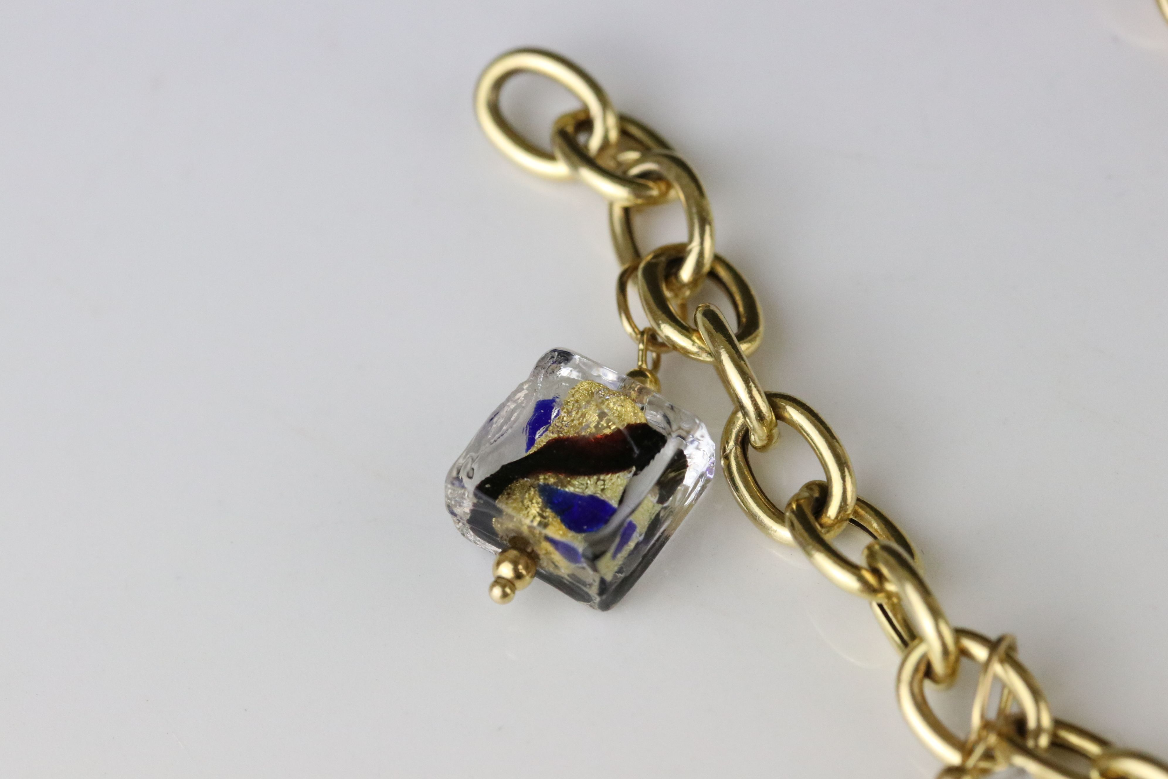 14ct yellow gold charm bracelet with five Murano style glass charms, lobster clasp, length approx - Image 3 of 5