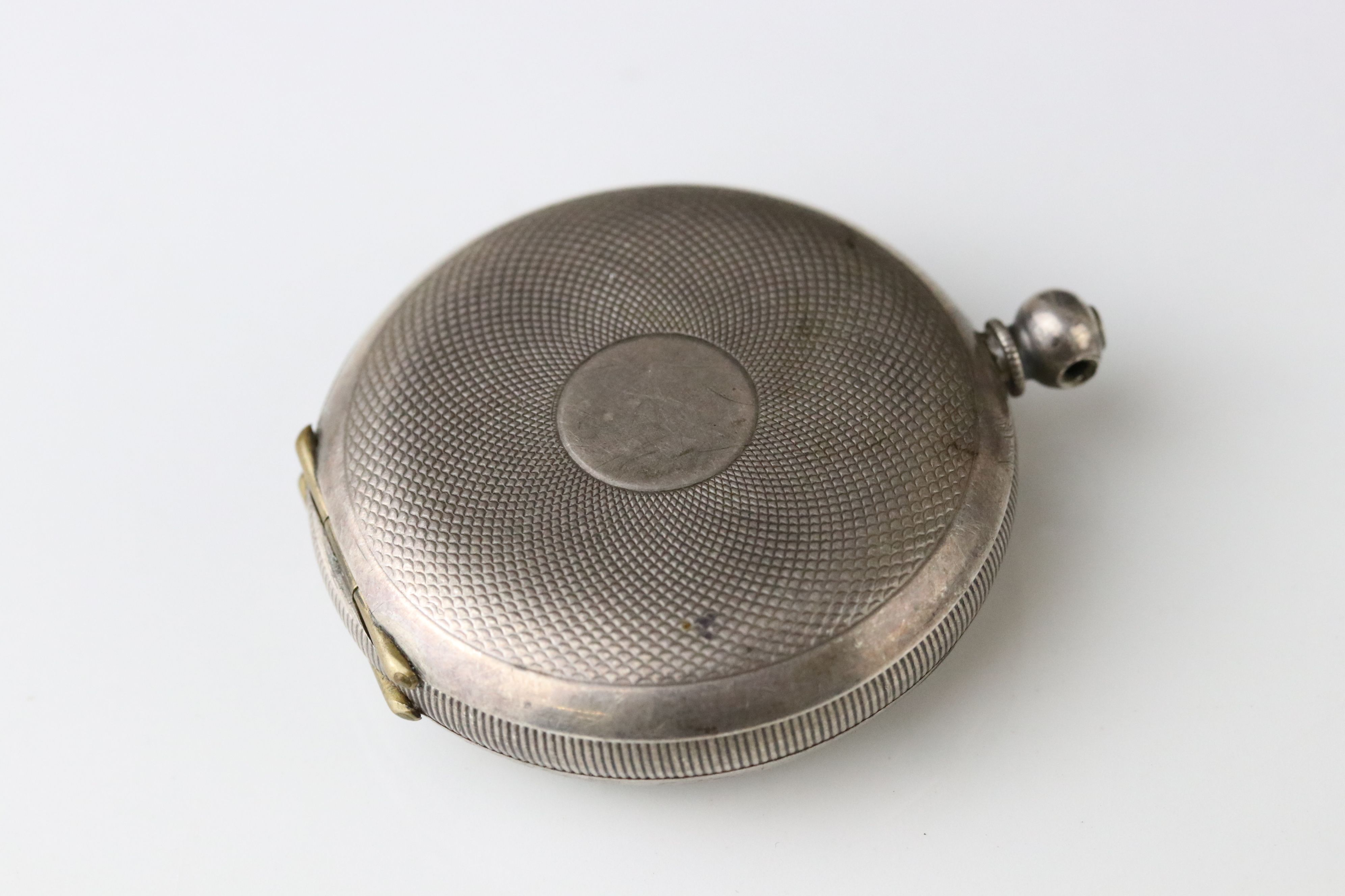 E D Johnson white metal key wind open face pocket watch, white enamel dial and subsidiary dial, - Image 10 of 10