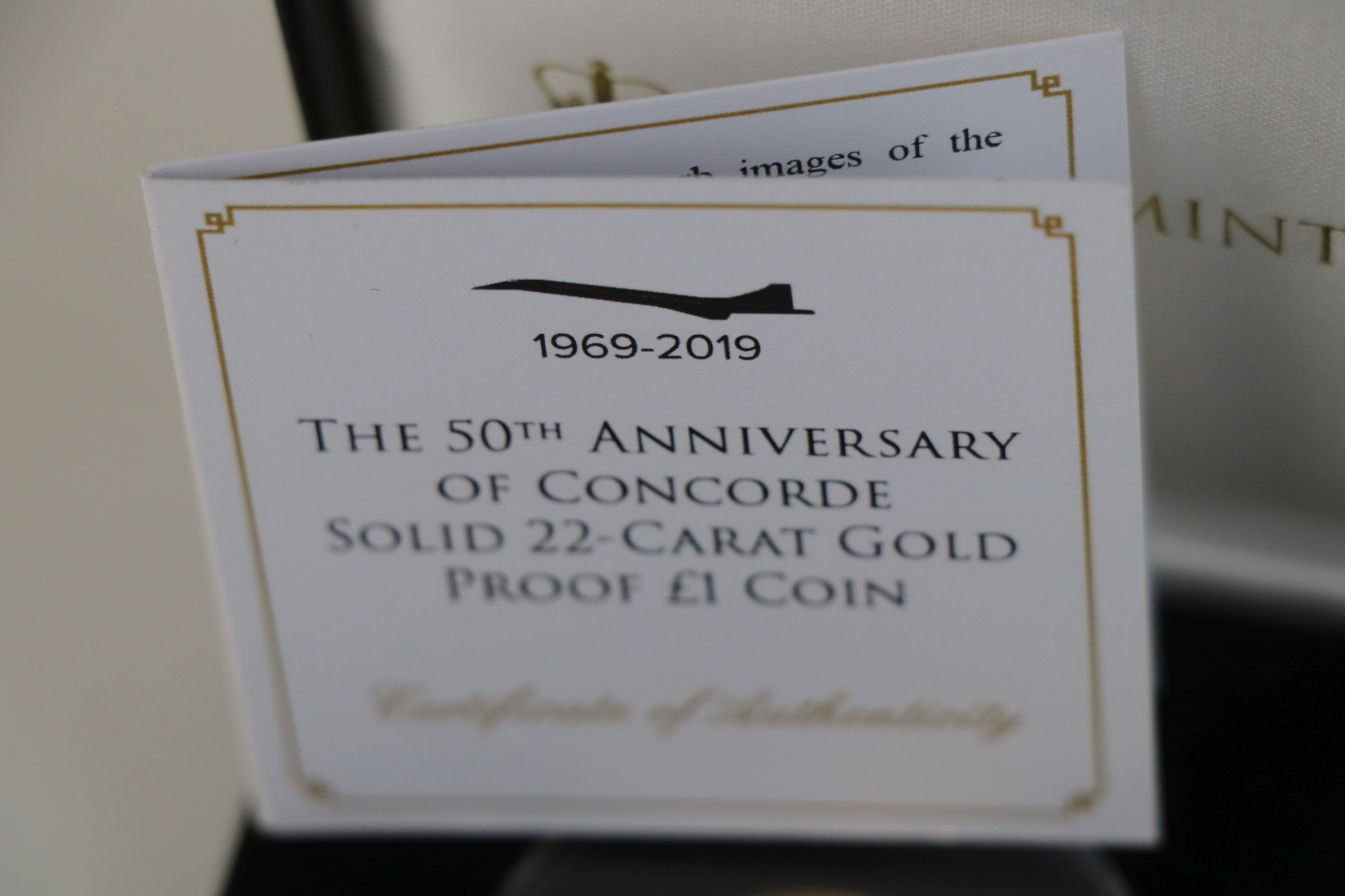 A cased Jubilee Mint The 50th Anniversary of Concorde 22ct gold proof £1 coin, complete with C.O. - Image 4 of 5