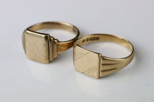 9ct gold signet ring, blank square cartouche, stepped shoulders, ring size T; together with with a