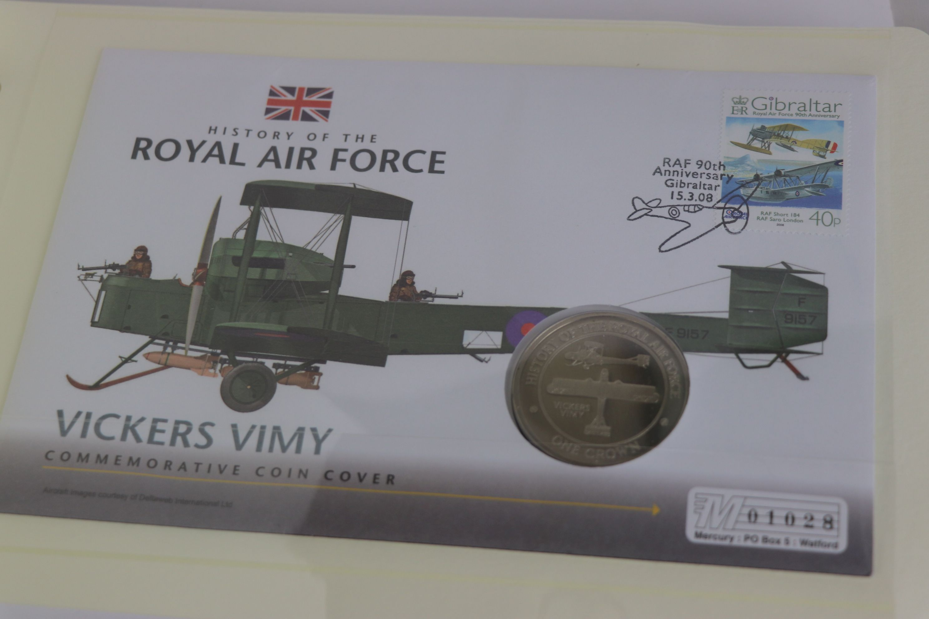 A limited edition Westminster Mint History of the Royal Air Force coin and stamp cover collection to - Image 13 of 16