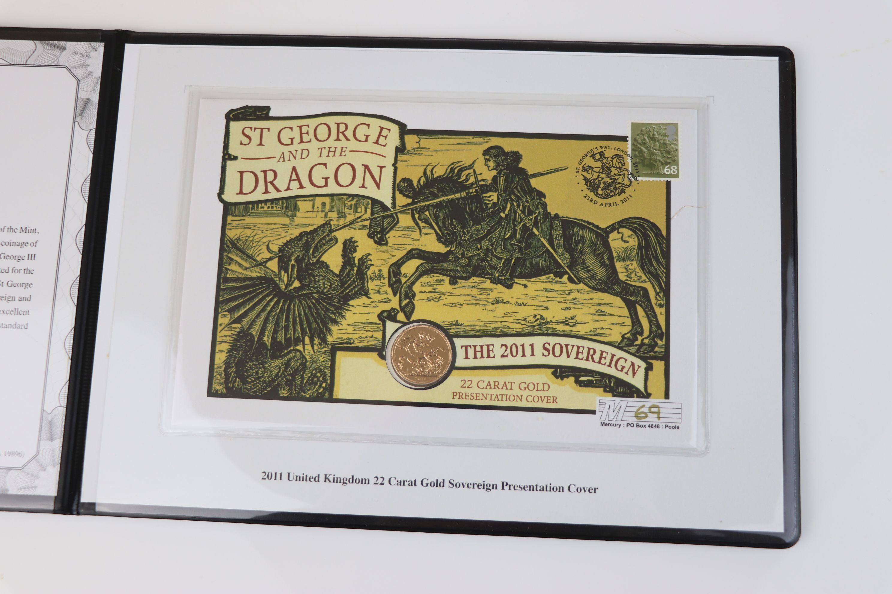A Westminster Mint limited edition 2011 gold sovereign St. George & The Dragon presentation cover, - Image 2 of 7