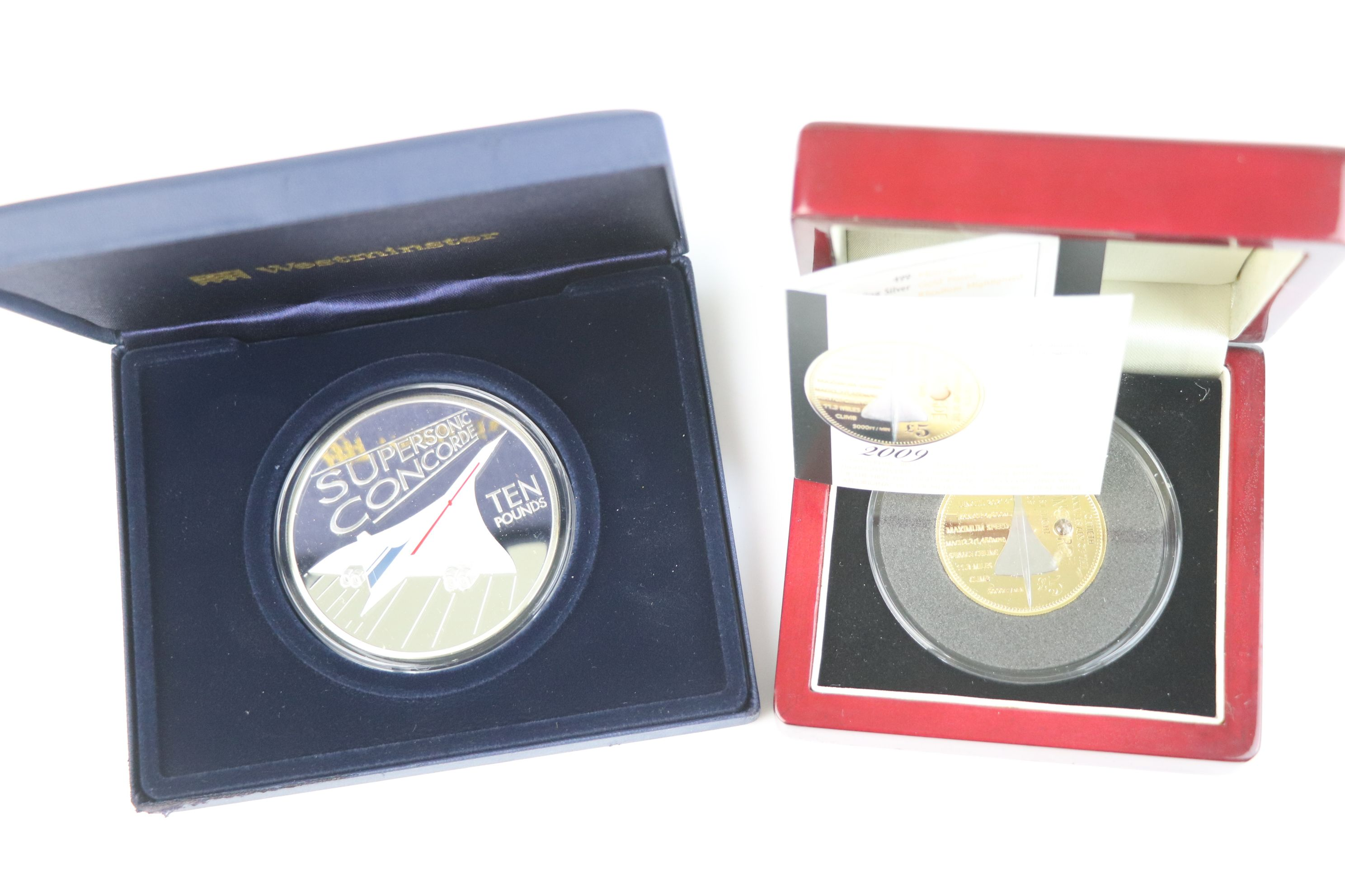 A cased Silver proof gold plated Concorde Piedfort £5 coin complete with C.O.A. together with a - Image 7 of 7