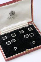 Onyx 9ct carat white gold Gentleman's cufflinks, buttons and dress stud set, square flush set