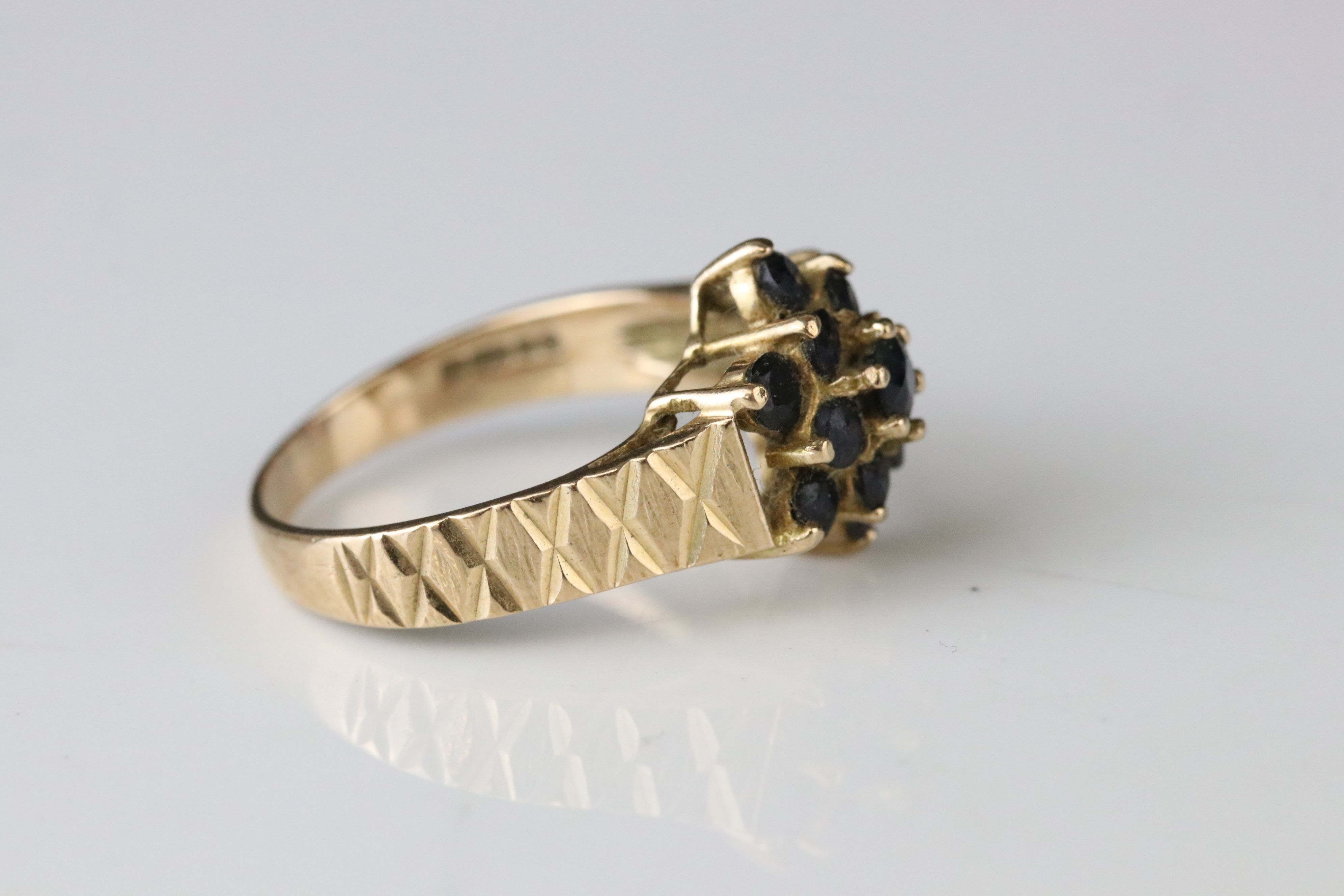Sapphire 9ct yellow gold cluster ring, together with black sapphire and white stone 9ct yellow - Image 3 of 5