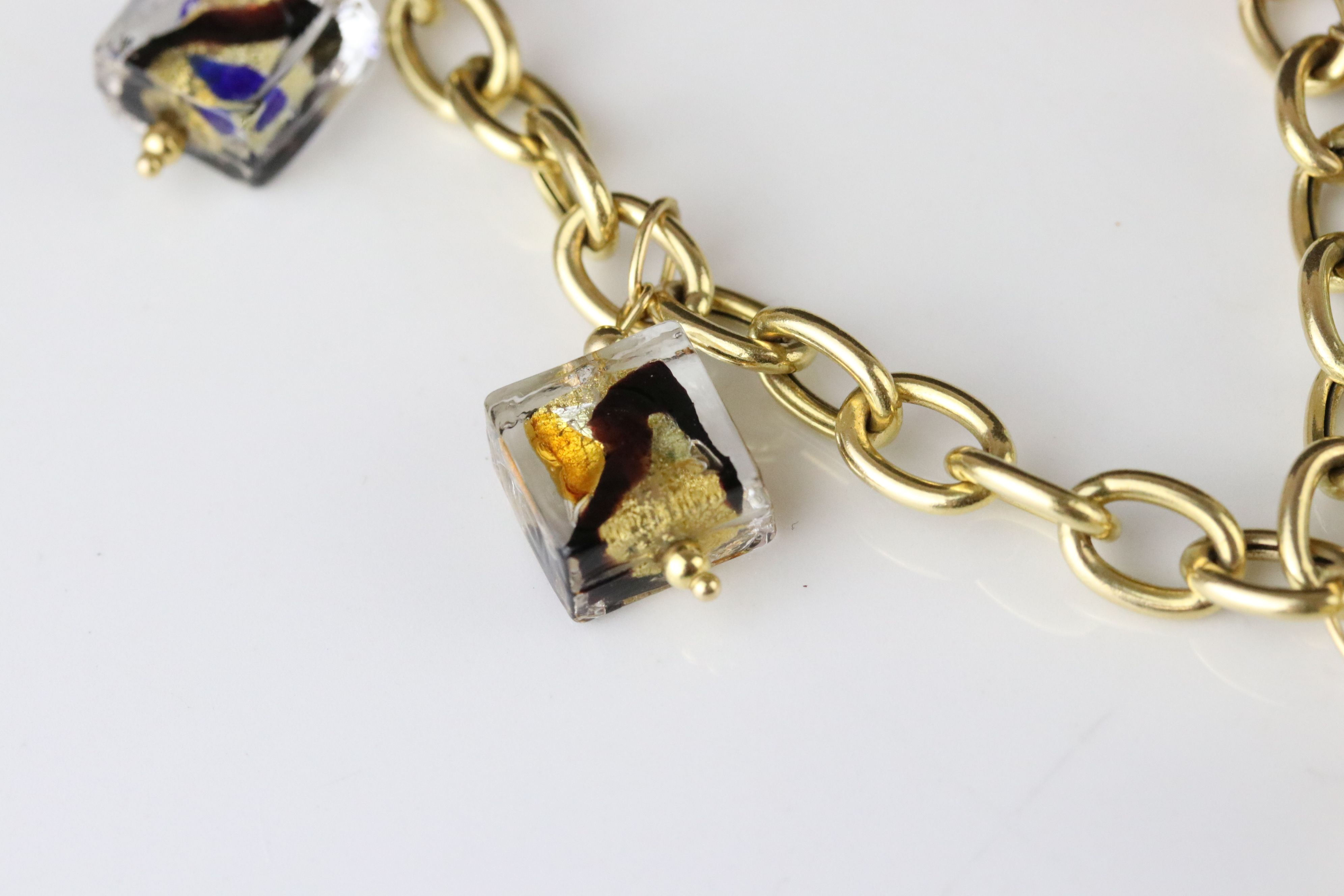 14ct yellow gold charm bracelet with five Murano style glass charms, lobster clasp, length approx - Image 2 of 5