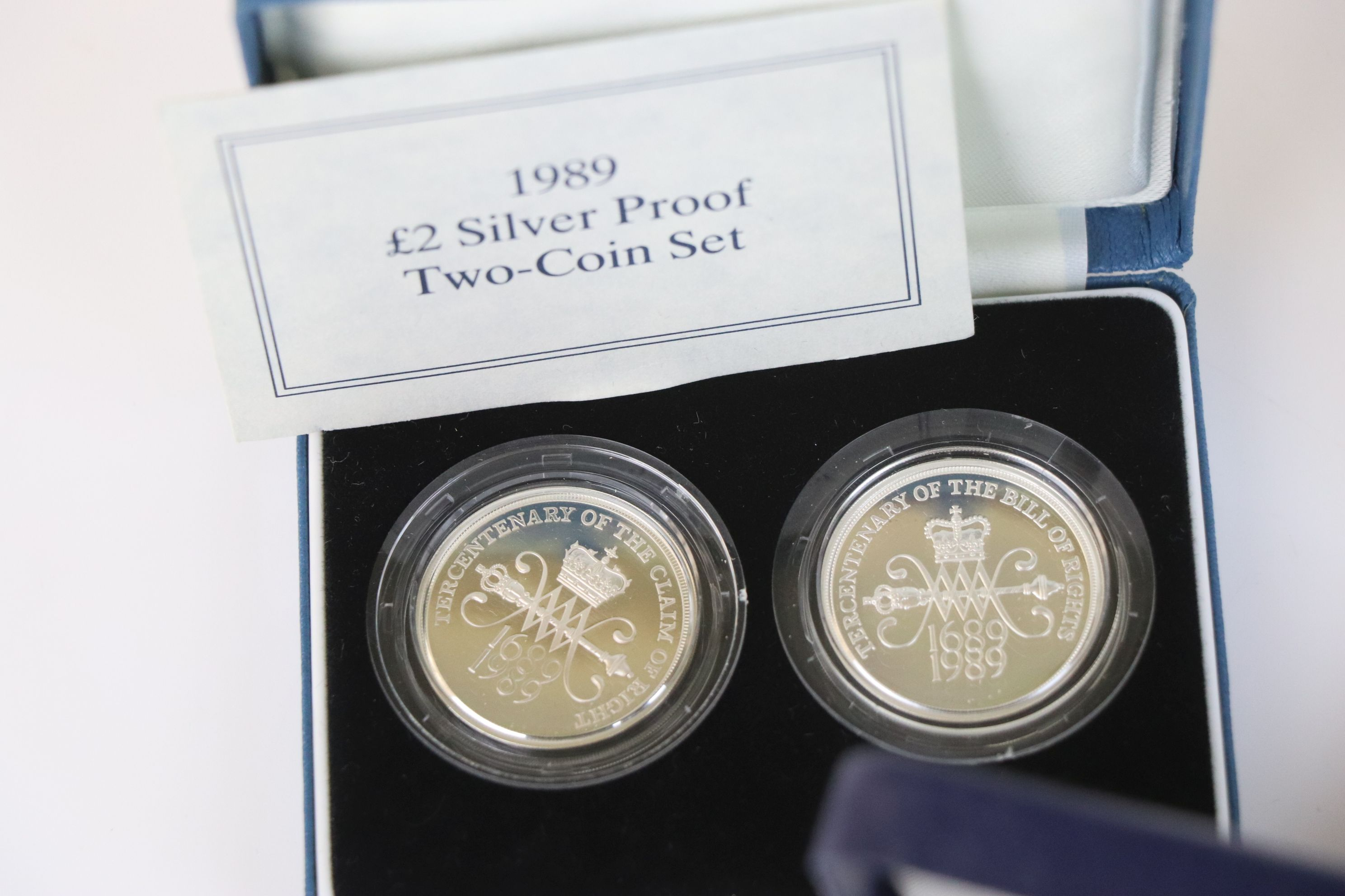 Three cased Royal Mint silver proof coin sets to include the 1992-1993 silver proof fifty pence - Image 3 of 6