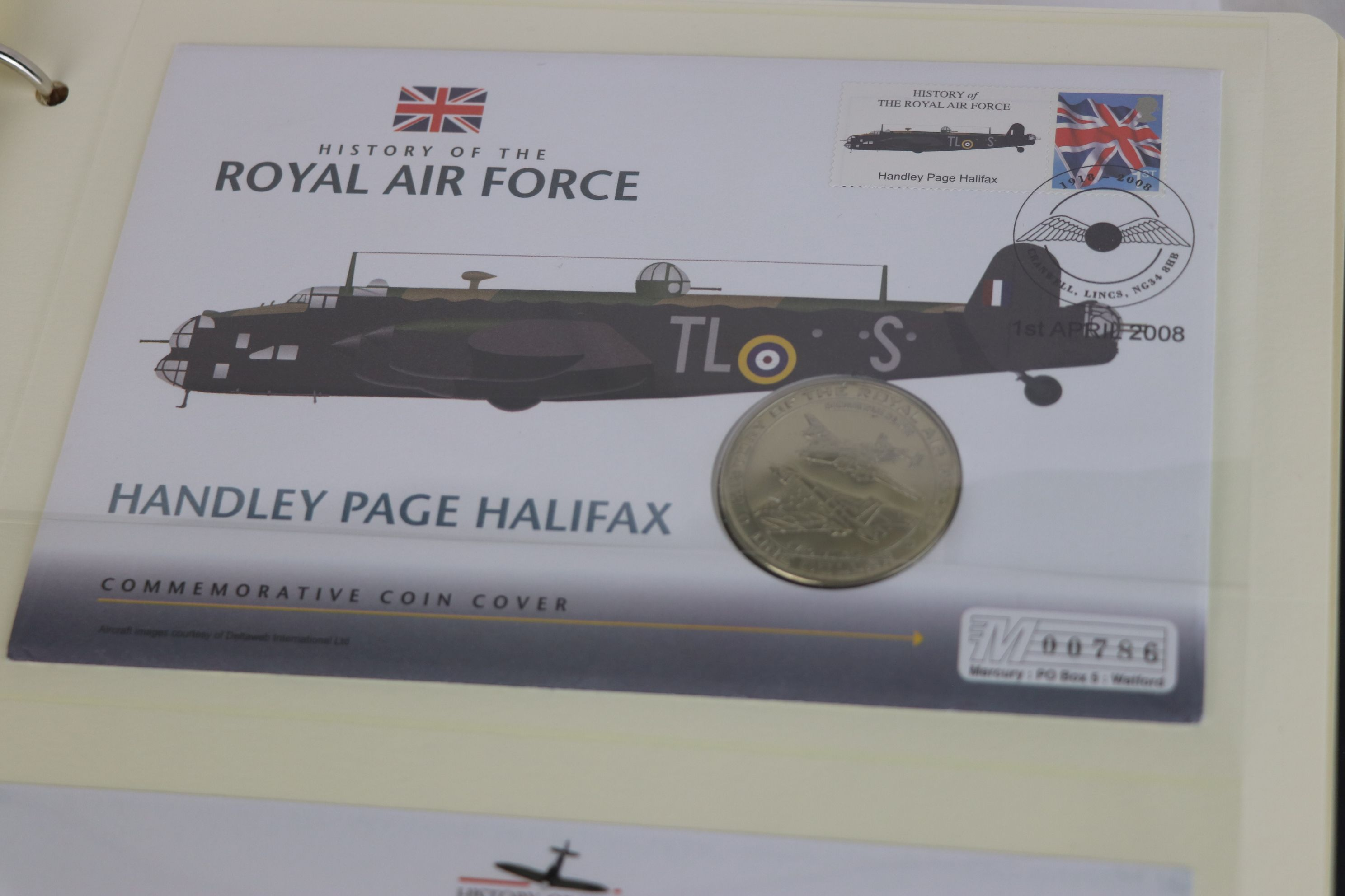 A limited edition Westminster Mint History of the Royal Air Force coin and stamp cover collection to - Image 12 of 16