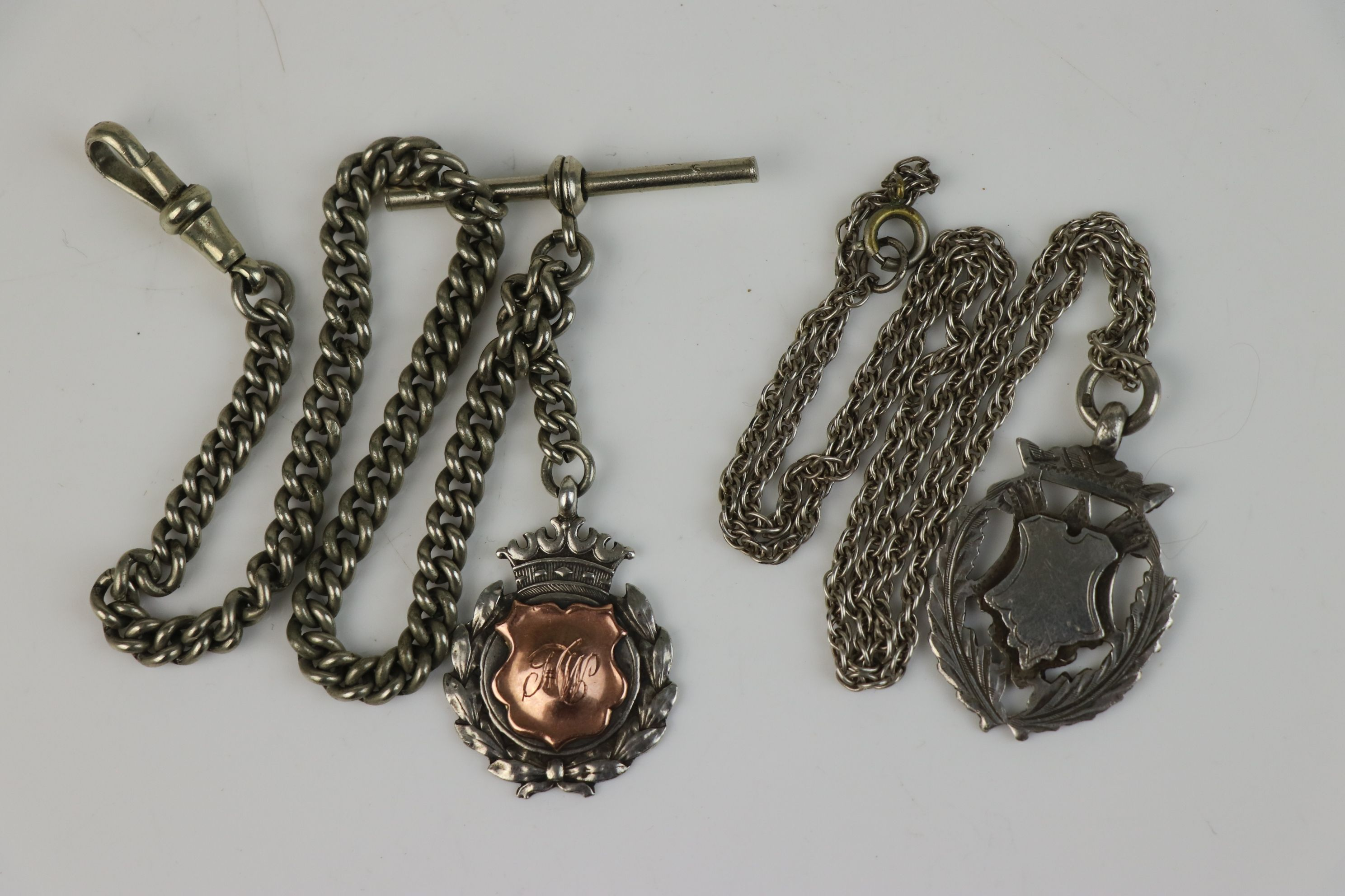 Two fully hallmarked sterling silver watch fob medallions together with an Albert chain. - Image 2 of 5