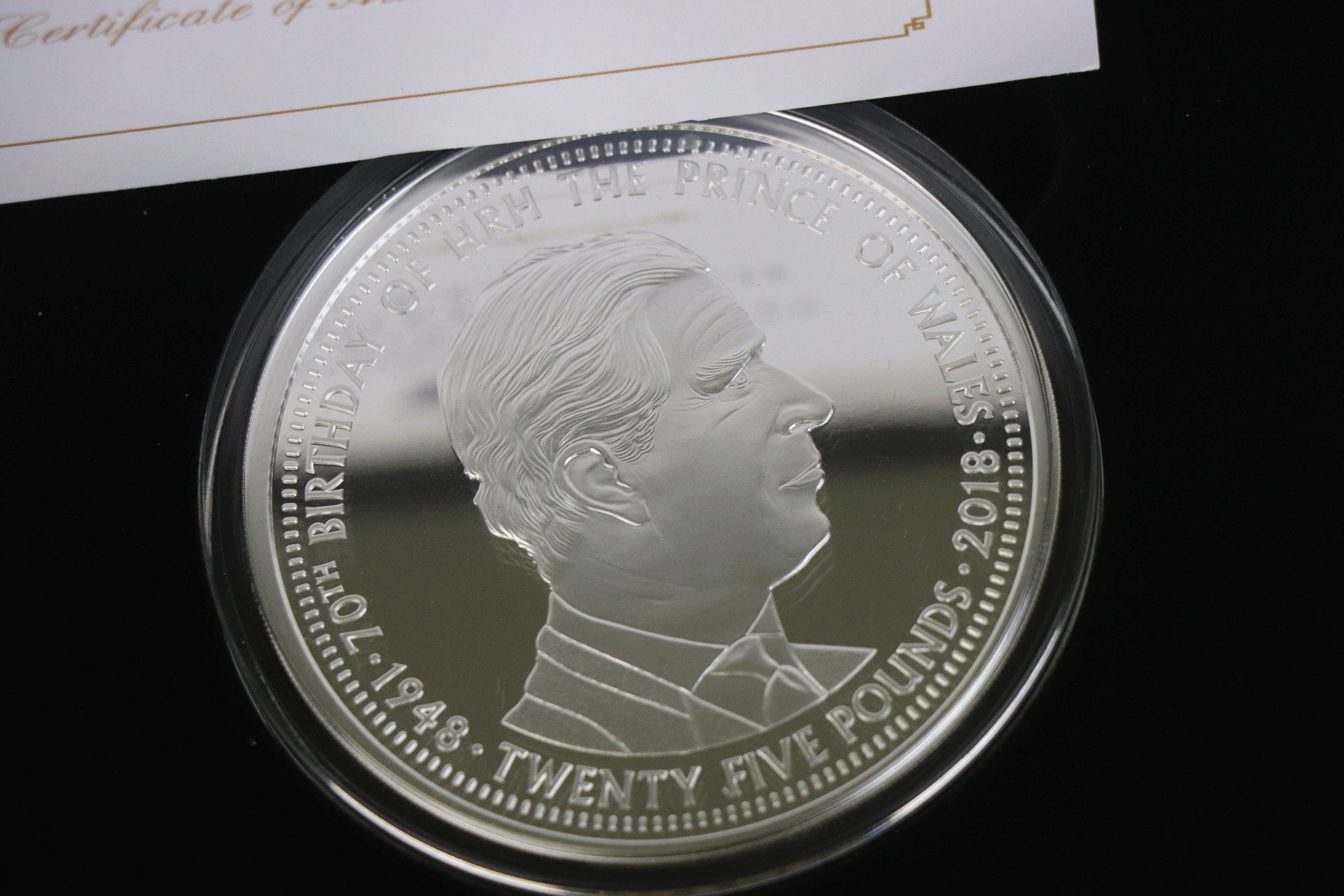 A Jubilee Mint limited edition fine silver £25 Prince Charles 70th Birthday solid silver proof 5 - Image 3 of 4