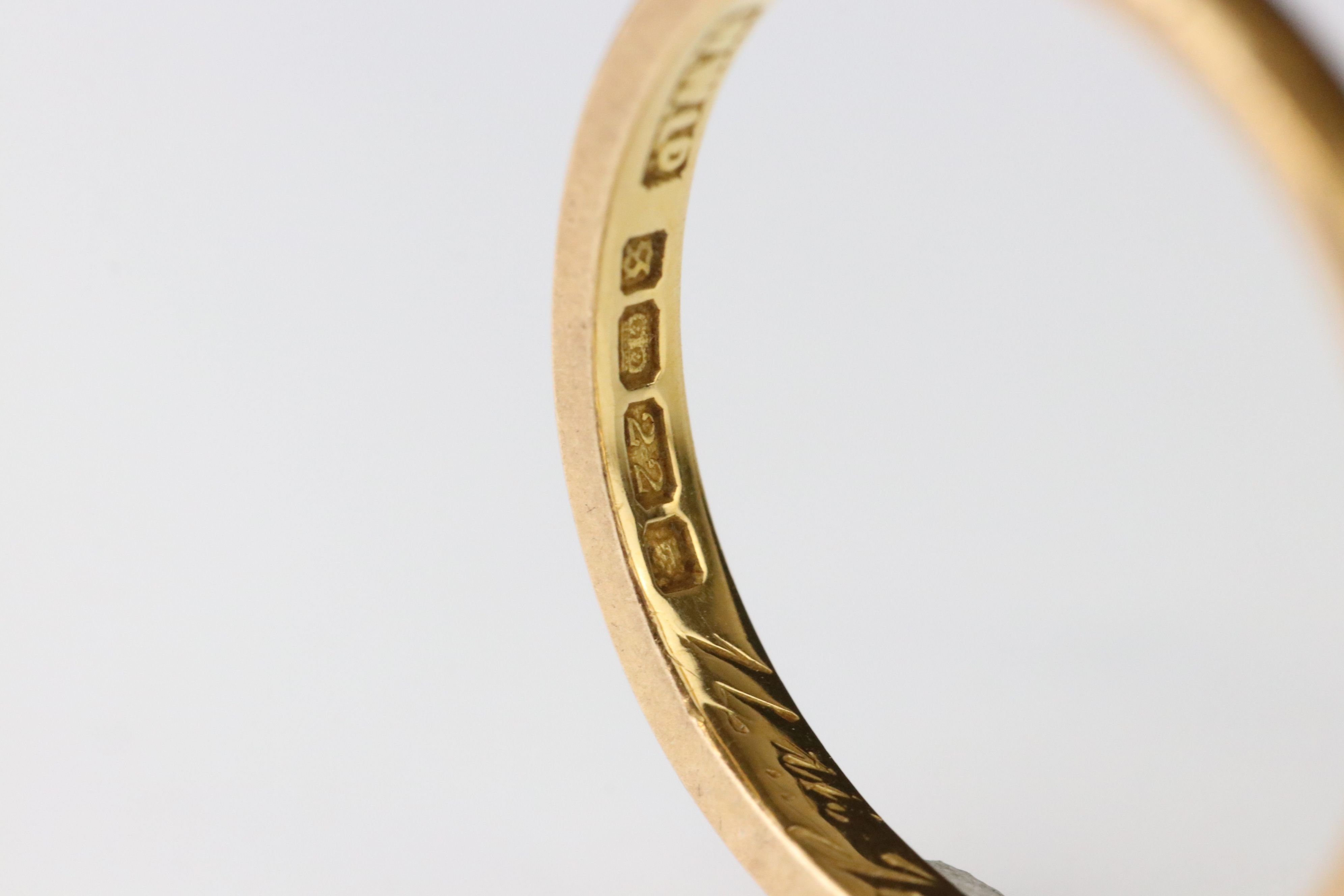 22ct yellow gold wedding band, personalisation to inner shank, width approx 2mm, ring size Q - Image 2 of 3