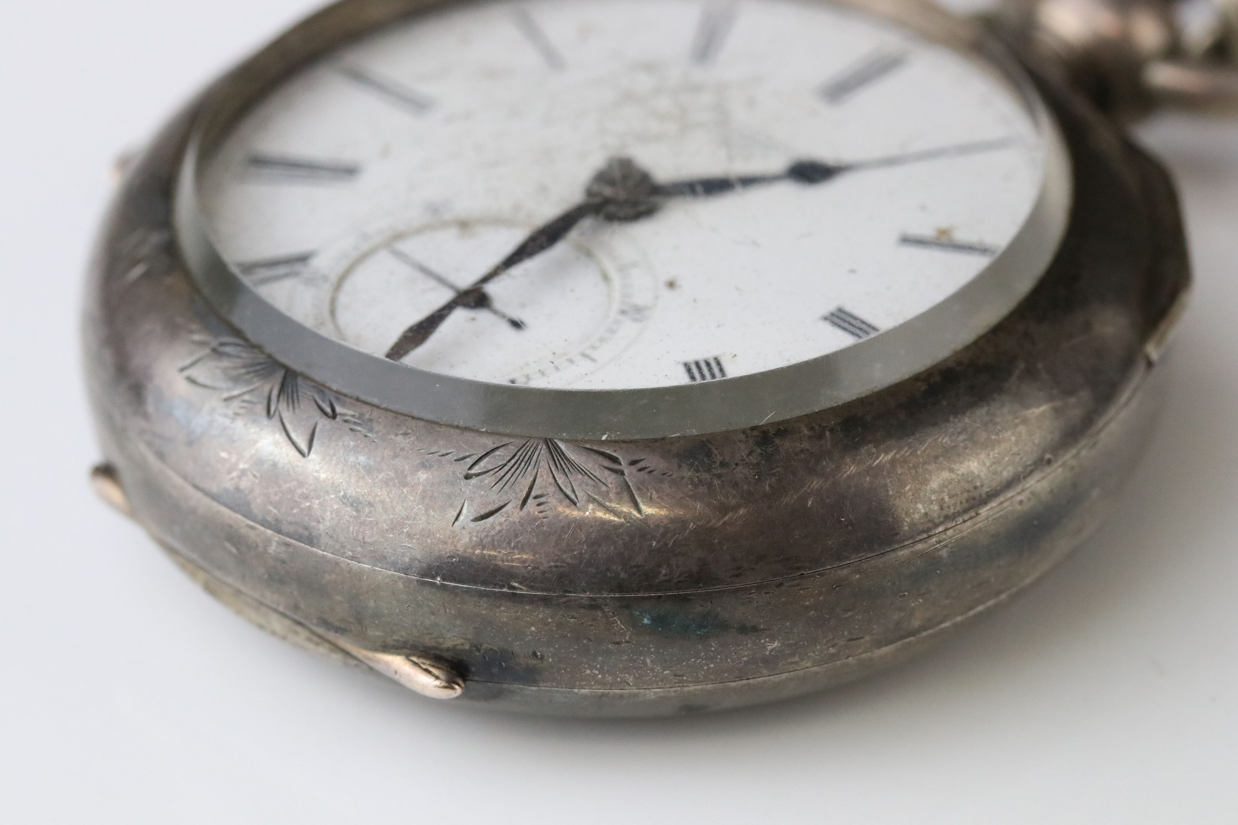 E D Johnson white metal key wind open face pocket watch, white enamel dial and subsidiary dial, - Image 5 of 10
