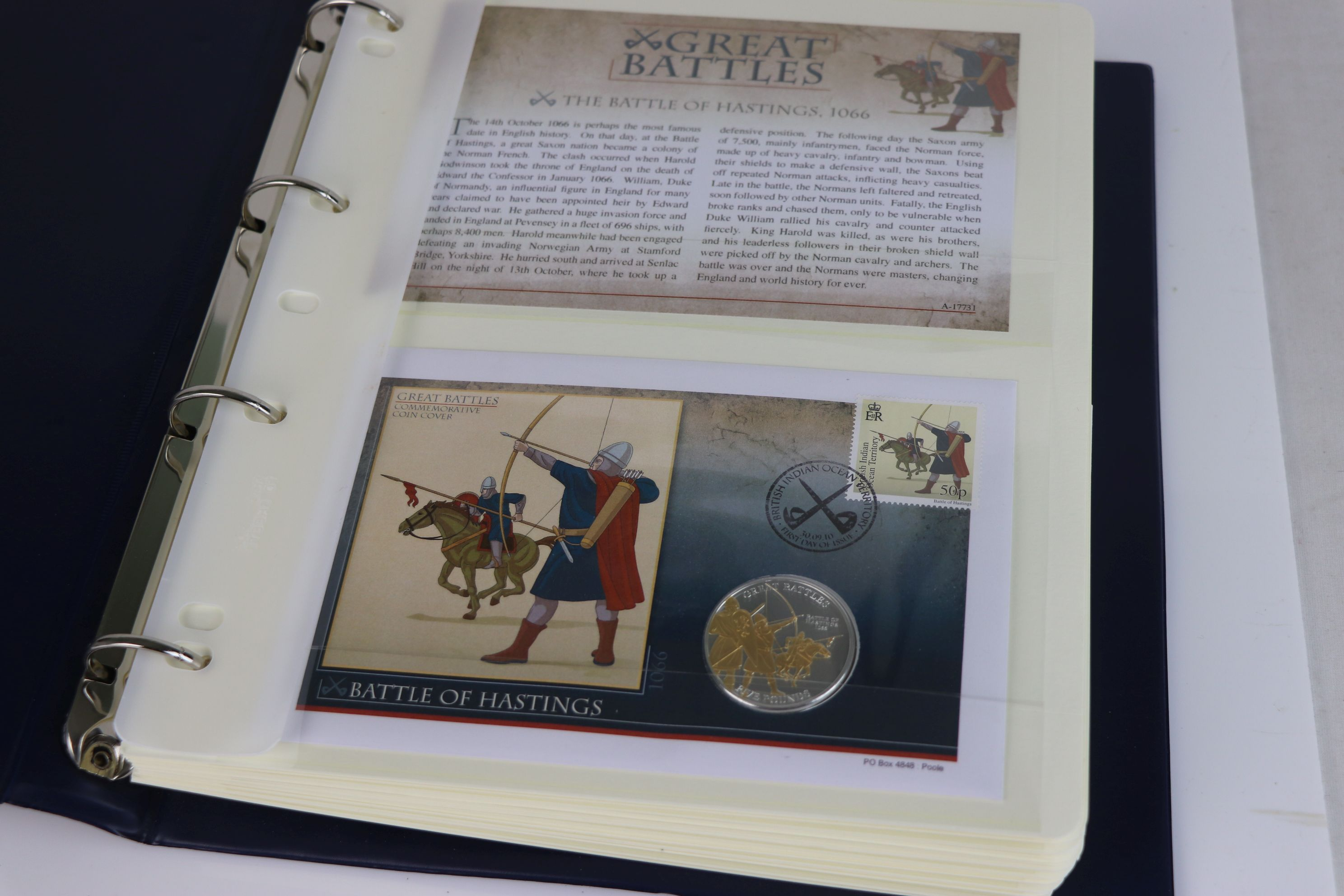 A limited edition Westminster Mint Great Battles £5 coin and stamps covers collection contained - Image 2 of 7