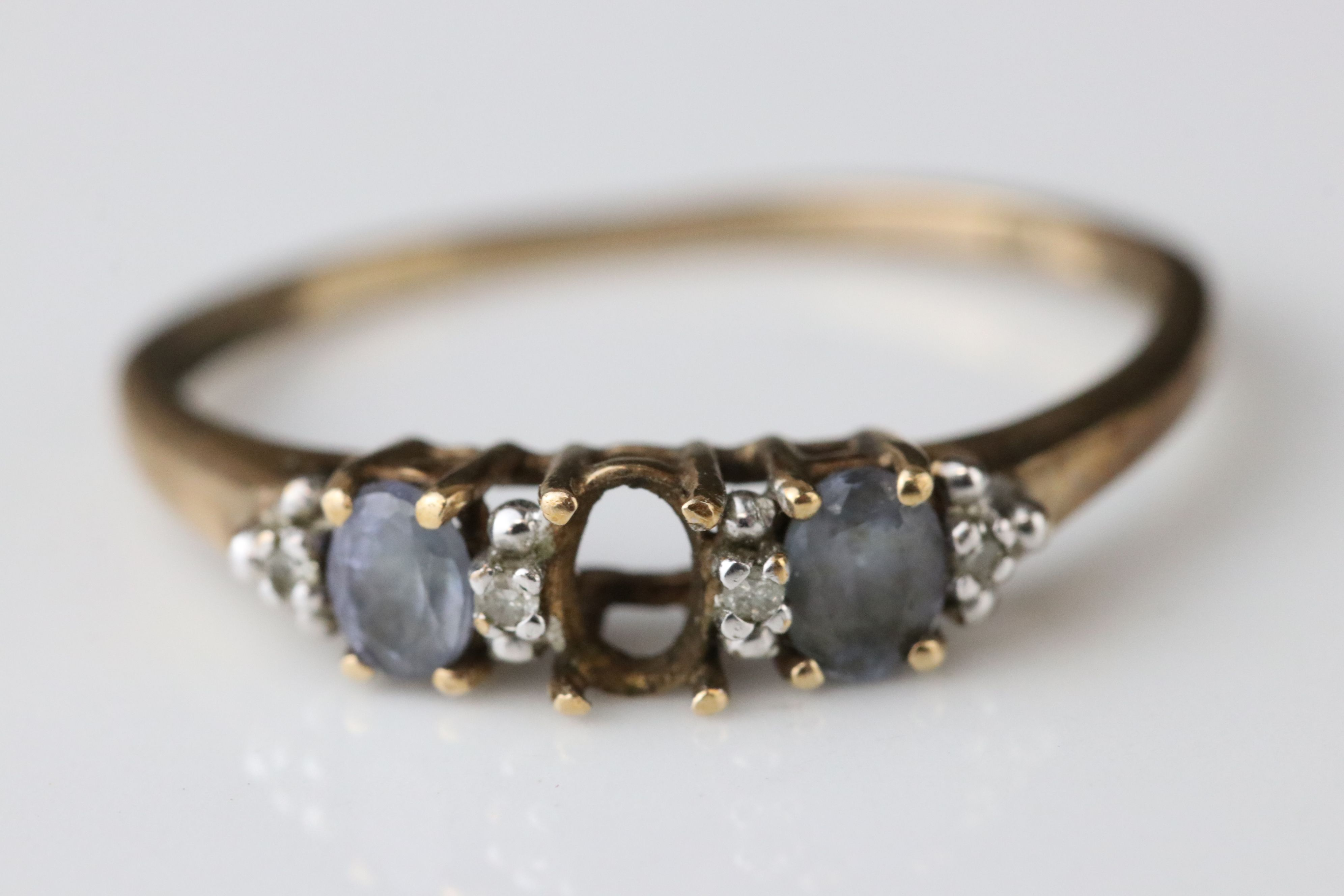 Three gem set 9ct yellow gold dress rings, all with gemstones missing - Image 4 of 6
