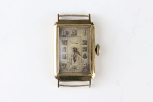 Early 20th century Mappin 9ct gold cased Gents wristwatch, 1918 London import marks, silvered