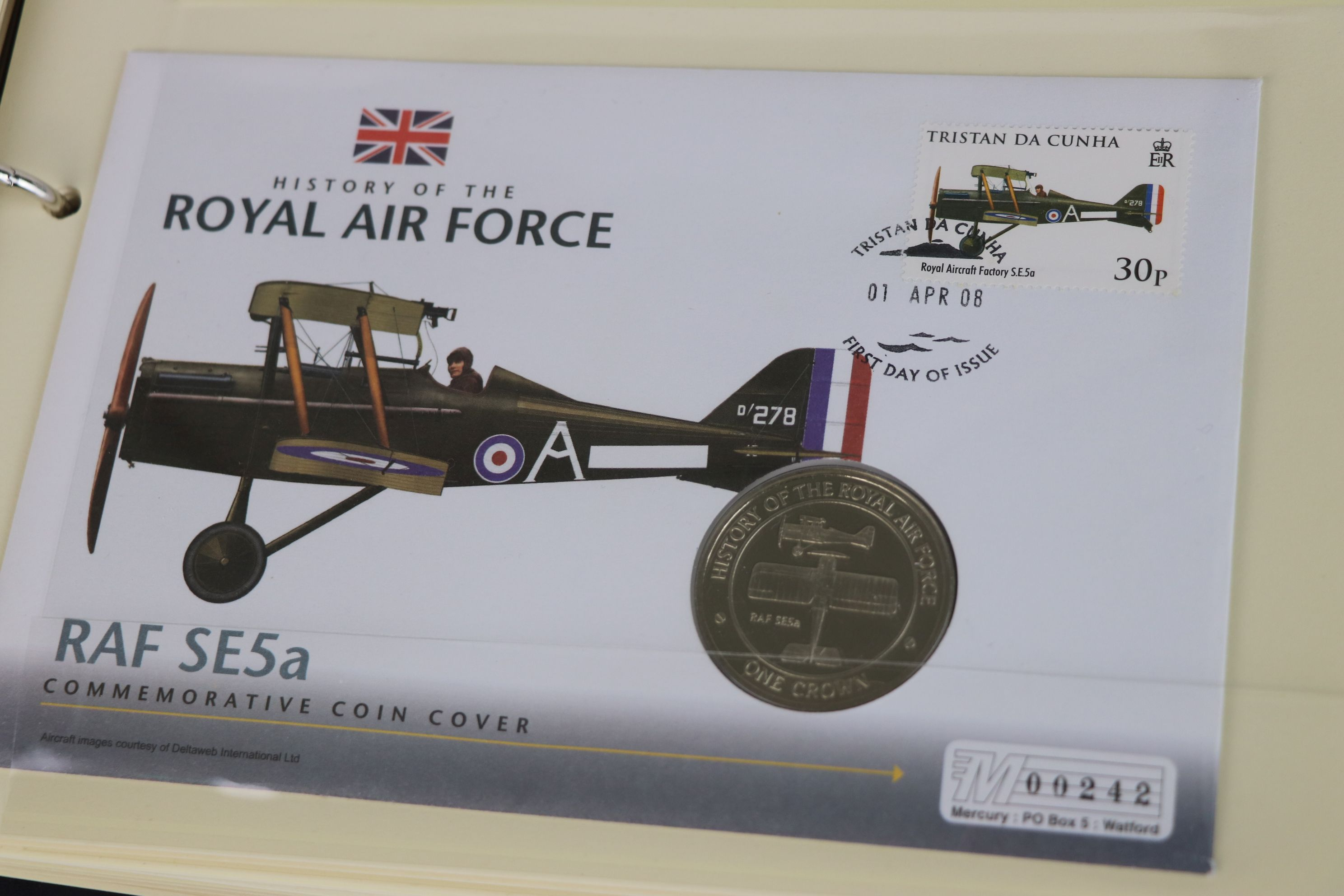 A limited edition Westminster Mint History of the Royal Air Force coin and stamp cover collection to - Image 9 of 16
